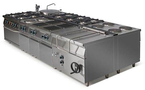Kuchnia gazowa 6-palnikowa z piekarnikiem elektrycznym z termoobiegiem GN2/1 i szafką L900.KG6 PET+SD Lozamet