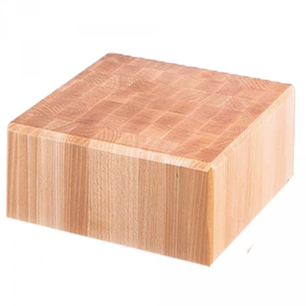 kloc masarski, drewniany, na podstawie ze stali nierdzewnej, 400x500x850 mm