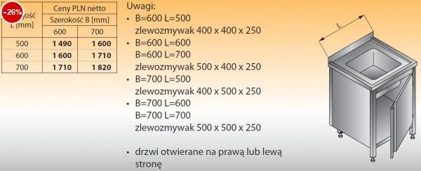 Stół zlewozmywakowy 1-zbiornikowy lo 204 - 500x600