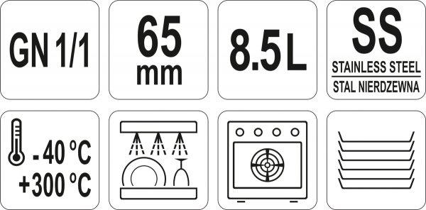 POJEMNIK GASTRONOMICZNY ZE STALI NIERDZEWNEJ GN 1/1 65MM 8,5L