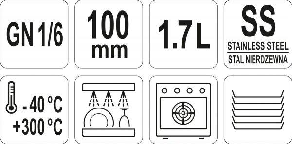 POJEMNIK GASTRONOMICZNY ZE STALI NIERDZEWNEJ GN 1/6 100 Yato