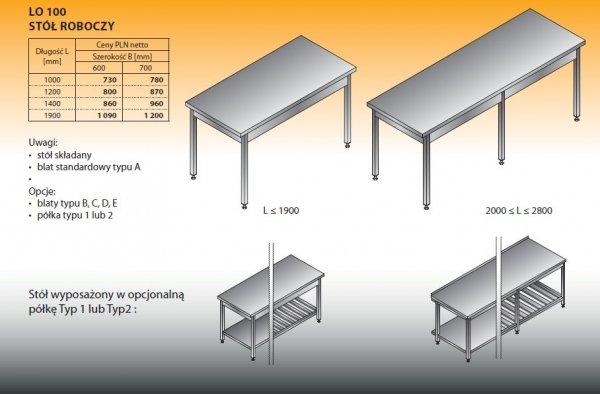 Stół roboczy lo 100 1200/600