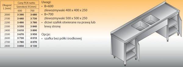 Stół zlewozmywakowy 2-zbiornikowy lo 250 - 2800x700