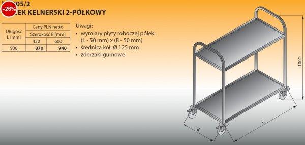 Wózek kelnerski 2-półkowy lo 805/2 - 930x430