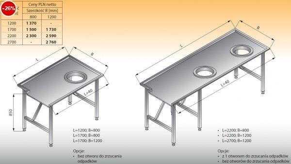 Stół sortowniczy prosty prawy lo 302 - 1200x800 Lozamet
