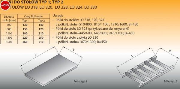Półki do stołów typ 2/600 Lozamet