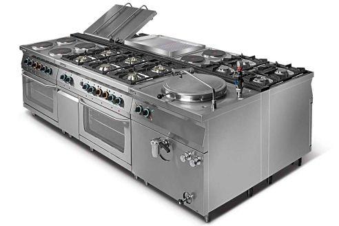 Kuchnia gazowa 6-palnikowa z piekarnikiem elektrycznym z termoobiegiem GN1/1 i szafką L700.KG6 PET+SD Lozamet