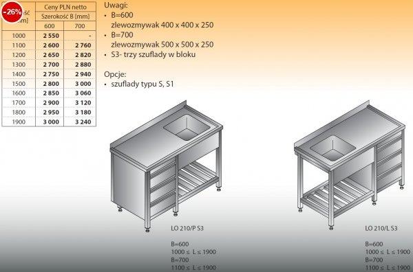 Stół zlewozmywakowy 1-zbiornikowy lo 210/s3 - 1000x600