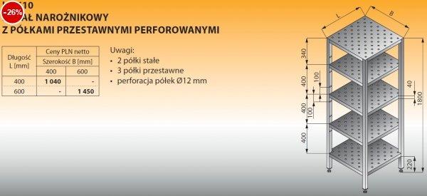 Regał narożnikowy z półkami przestawnymi perforowanymi lo 610 - 400x400