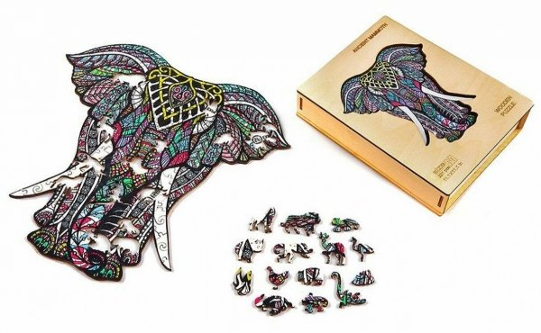 Drewniane Puzzle Magiczny Słoń A3