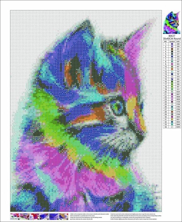 Haft Diamentowy Tęczowy Kot 35x45 cm