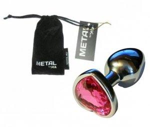 Metal Silver klasyczna mała wtyczka analna z różowym kryształkiem serce
