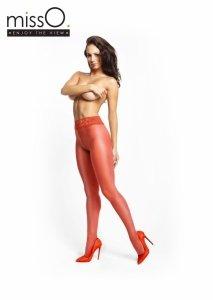 MissO czerwone rajstopy z koronkowym pasem i otworkiem w kroku roz.L/XL