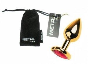 Metal Gold klasyczna mała wtyczka analna z czerwonym kryształkiem serce