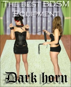 Dark Horn Collar Fem Whip+ zestaw BDSM