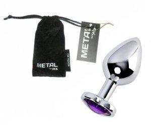 Metal Silver klasyczna wtyczka analna z fioletowym kryształkiem serce