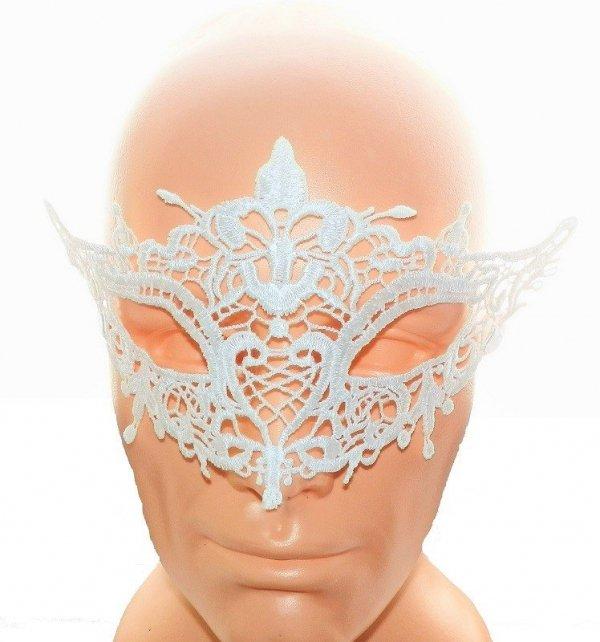 Koronkowa biała opaska - maska na oczy