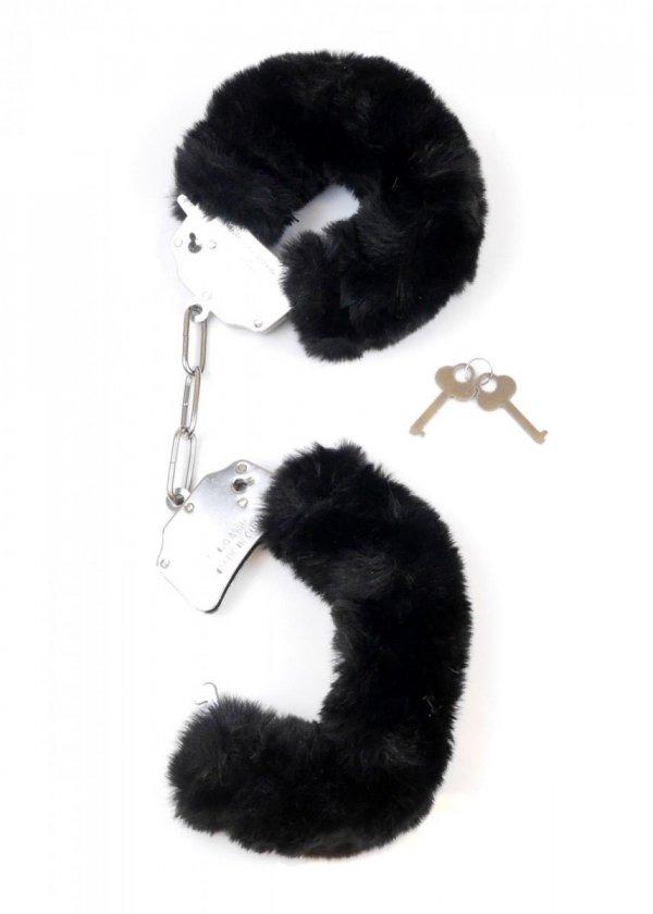 Furry Cuffs solidne kajdanki z grubym czarnym futerkiem odpiete