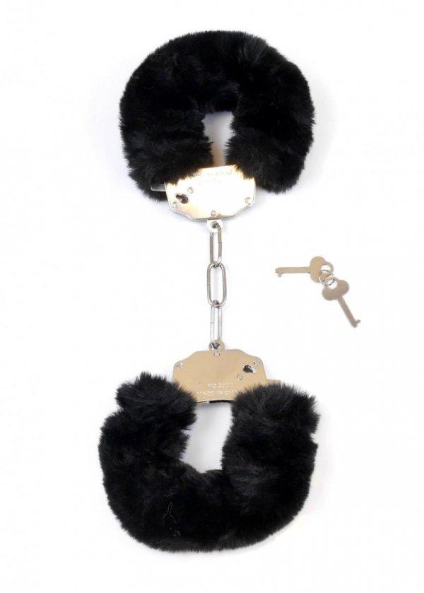 Furry Cuffs solidne kajdanki z grubym czarnym futerkiem napiete