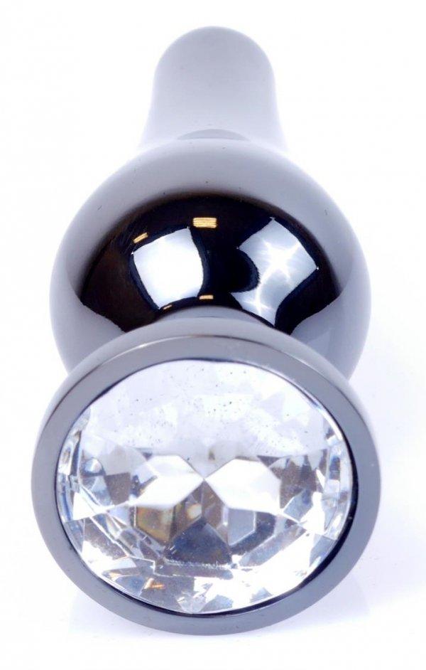 Metal Dark klasyczna wtyczka analna z kryształkiem