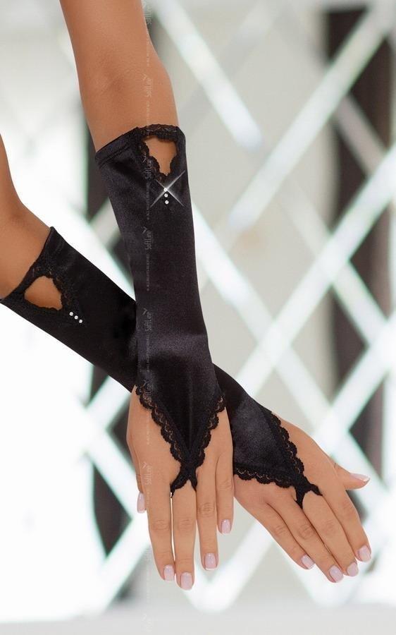 Czarne długie rękawiczki na palec SoftLine Gloves