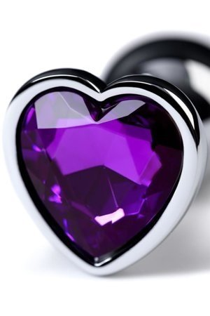 Metal Silver klasyczna mała wtyczka analna z fioletowym kryształkiem