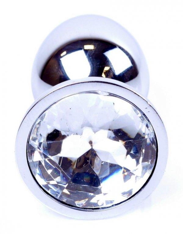 Metal Silver klasyczna mała wtyczka analna z kryształkiem