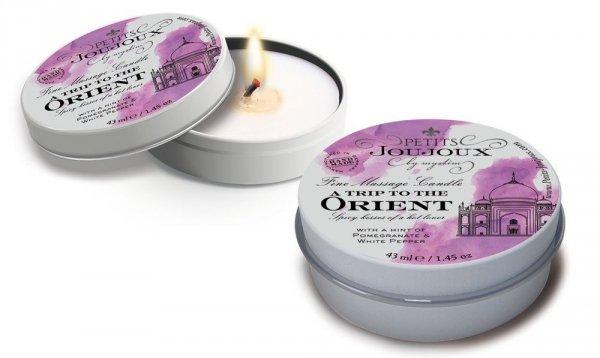Świeczka olejek do masażu ORIENT zapalona