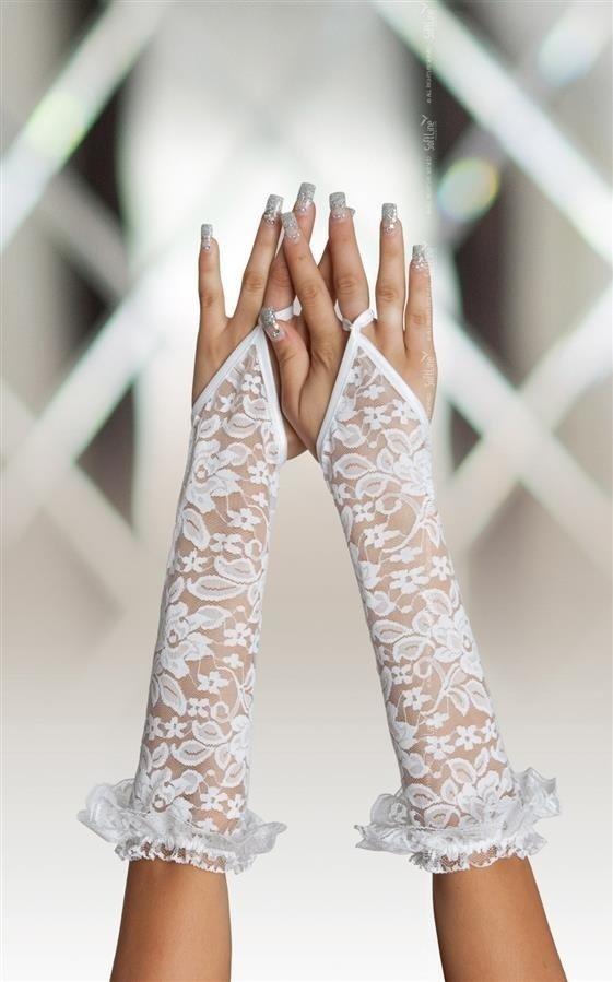 Białe koronkowe rękawiczki na palec SoftLine Gloves