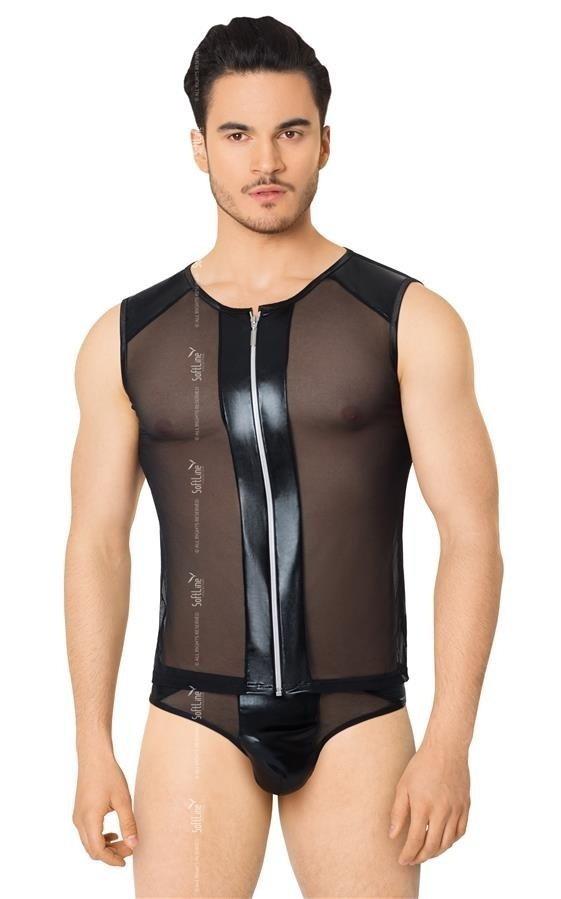 Erotyczny komplet bielizny erotycznej Shirt Shorts z zamkiem przód