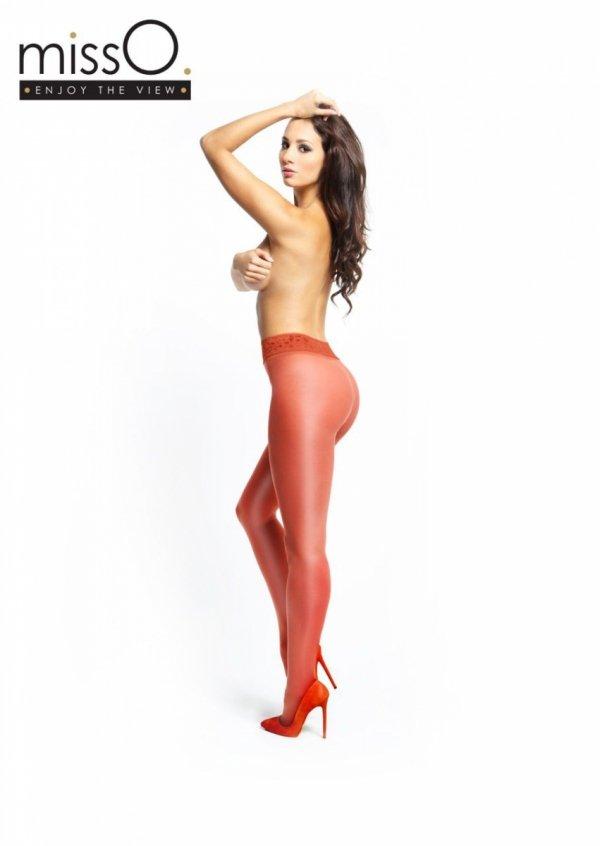 MissO czerwone rajstopy z koronkowym pasem i otworkiem w kroku roz.L/XL - tył