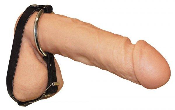 Sextreme BDSM Skórzany zacisk na jądra z ringiem