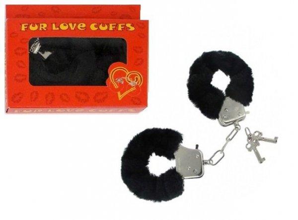 Czarne kajdanki z futerkiem Fur Love Cuffs