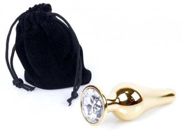 Metal Gold klasyczna wtyczka analna z kryształkiem