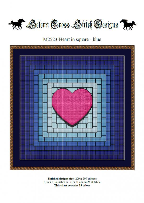 Wzór do haftu M2523 - Heart in square - niebieskie