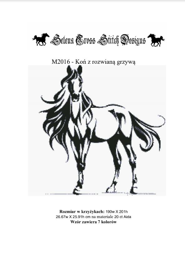 Wzór do haftu M2016 - Koń z rozwianą grzywą