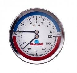 Termometr ŚR 80 MM, 0-120 C, 0-6 BAR, TYŁ-GW 1/2