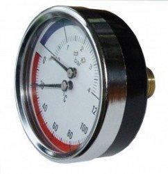 Termomanometr tarczowy radialny 80mm do 4 bar