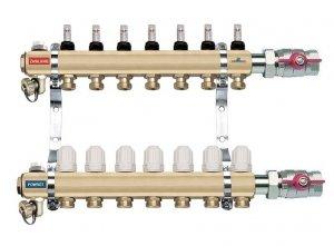 Rozdzielacz 1 CAL 10 obwodów z przepływomierzami i zaworami termostatycznymi FERRO