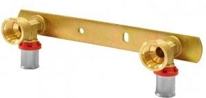 Pex zacisk listwa montażowa z kolankami 16x1/2gw 15cm