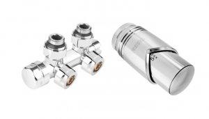 Ferro zestaw termostatyczny zespolony kątowy z głowicą chrom