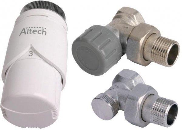 Głowica termostatyczna ALTECH + komplet zaworów grzejnikowych KĄTOWY