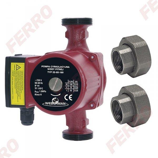 Pompa cyrkulacyjna FERRO 25-60 180 ze śrubunkami