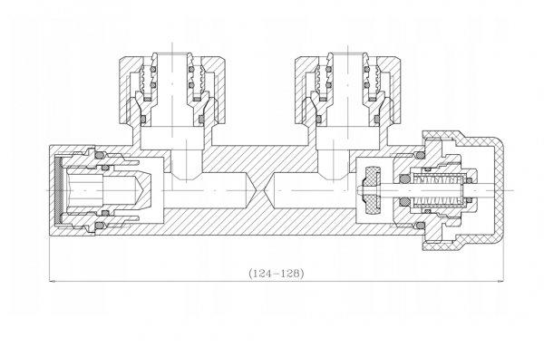 Zestaw termostatyczny zawór grzejnikowy zespolony kątowy antracyt