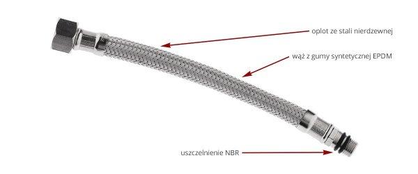 FERRO Wąż w oplocie  3/8xM10x1'' L 60cm z długą końcówką