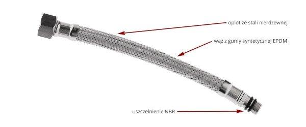 FERRO Wąż w oplocie  3/8xM10x1'' L50cm z długą końcówką