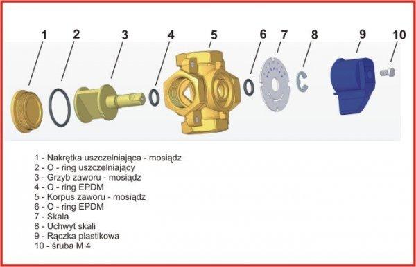 Womix zawór mieszający czterodrogowy mix M 1cal