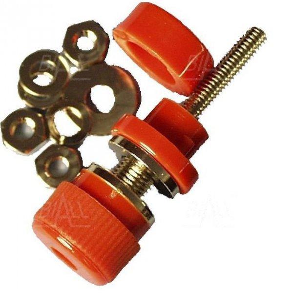 Gniazdo panelowe 4mm z zaciskiem GL2-R 30A, czerwony