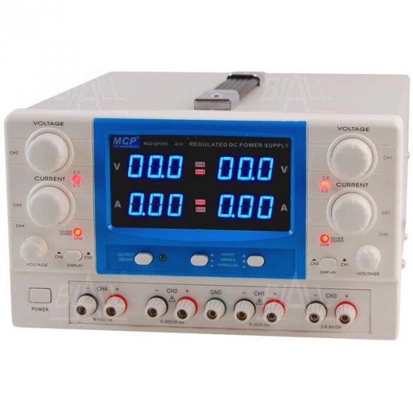 Zasilacz lab QP305E DC 2x30V/5A 6,5V/3A 15V/1A do pracy ciągłej MCP