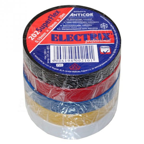 "Taśma ELECTRIX 202 Super Flex PCW ""Tęcza"" 19mmx20m   ( 5 rolek)"